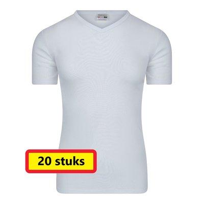 Heren T-shirt met V-hals M3000 Wit (20 stuks)