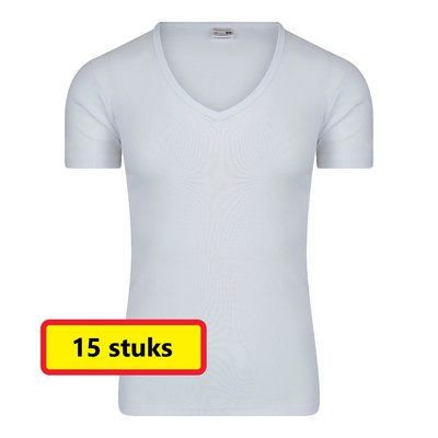 Heren T-shirt met Diepe V-hals M3000 Wit (15 stuks)