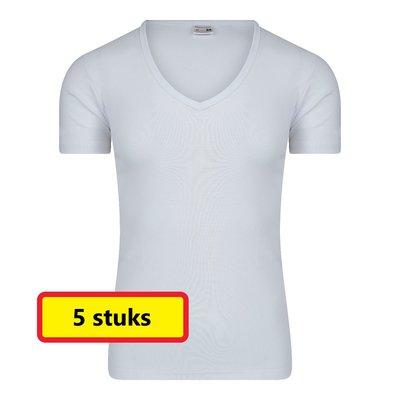 Heren T-shirt met Diepe V-hals M3000 Wit (5 stuks)
