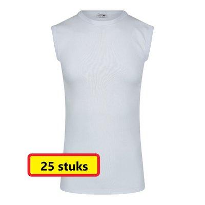 Heren mouwloos shirt met ronde hals M3000 Wit (25 stuks)