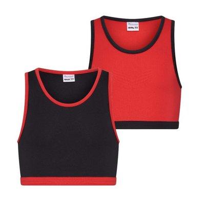 2-Pack Mix&Match Meisjes hesjes Rood/Zwart