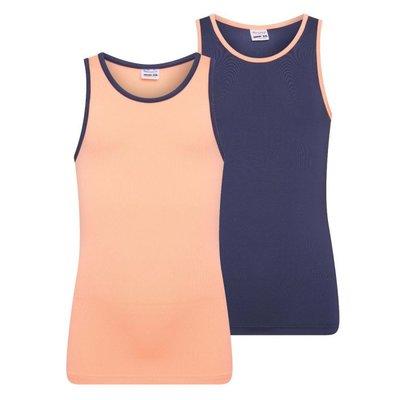 2-Pack Mix&Match Meisjes hemd Zalm/D.Blauw