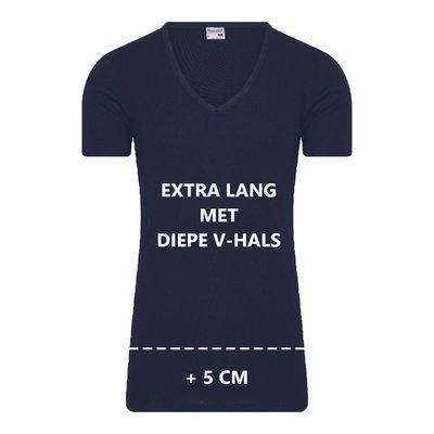 Extra lang heren T-shirt diepe V-hals M3000 Marine