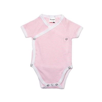 Baby overslag rompertje streep Roze