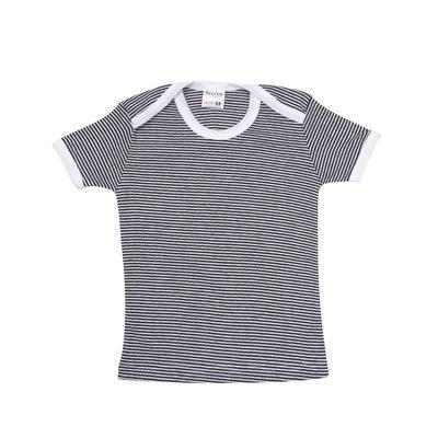 Baby beeren ondergoed T-shirt korte mouw. zwart/wit