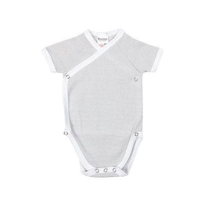 Baby overslag rompertje grijs streep