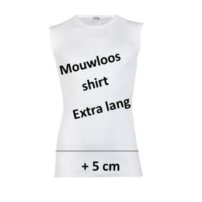Extra lang heren mouwloos shirt Beeren Wit M3000