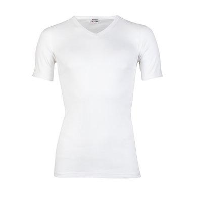 Heren T-shirt V-hals en korte mouw Beeren Wit M3000