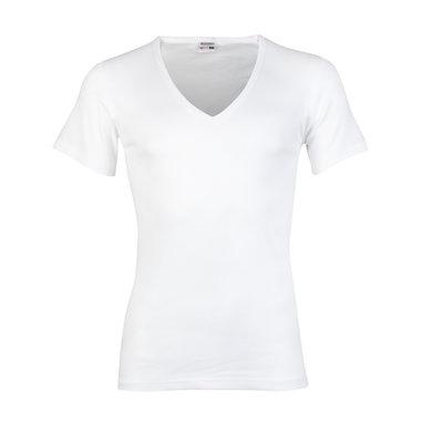 Heren T-shirt met diepe V-hals en korte mouw Beeren Wit