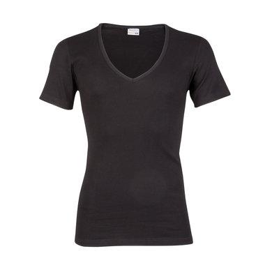 Heren T-shirt met diepe V-hals en korte mouw Beeren Zwart