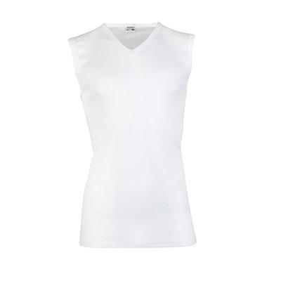 Heren mouwloos shirt met V-hals Beeren Wit M3000