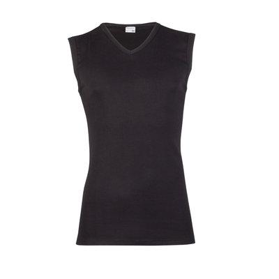 Heren mouwloos shirt met V-hals Beeren Zwart
