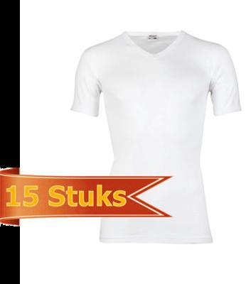 Heren T-shirt korte mouw V-hals Beeren Wit (15 stuks) M3000