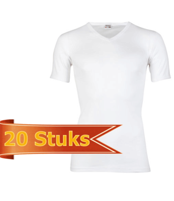 Heren T-shirt korte mouw V-hals Beeren Wit (20 stuks) M3000