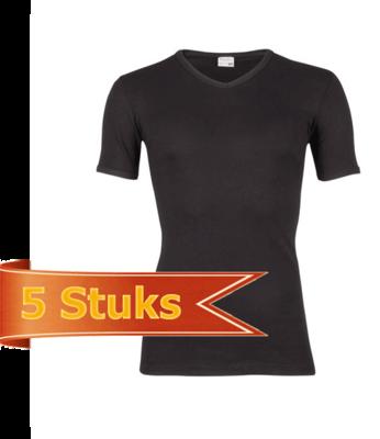 Heren T-shirt korte mouw V-hals Beeren Zwart (5 stuks)