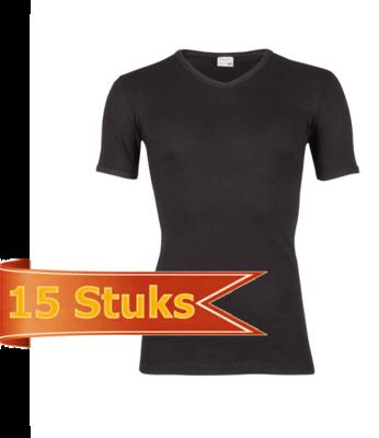 Heren T-shirt korte mouw V-hals Beeren Zwart (15 stuks)