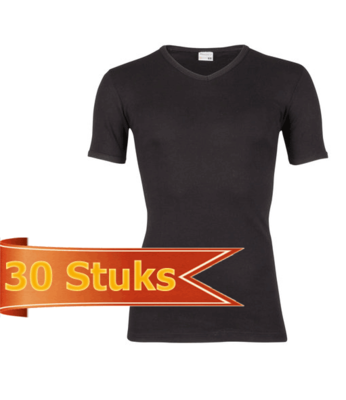 Heren T-shirt korte mouw V-hals Beeren Zwart (30 stuks)