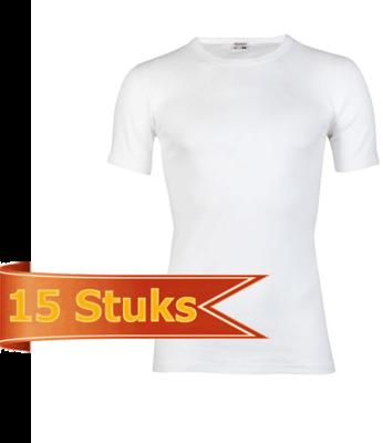Heren T-shirt met ronde hals en korte mouw Beeren Wit (15 stuks) M3000