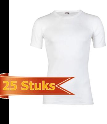 Heren T-shirt met ronde hals en korte mouw Beeren Wit (25 stuks)