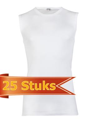 Heren mouwloos shirt Beeren Wit (25 stuks)