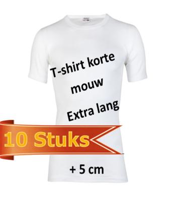 Extra lang Heren T-shirt met ronde hals Beeren Wit (10 stuks)