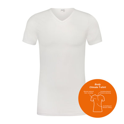 Body Climate T-shirt met V-hals Wit