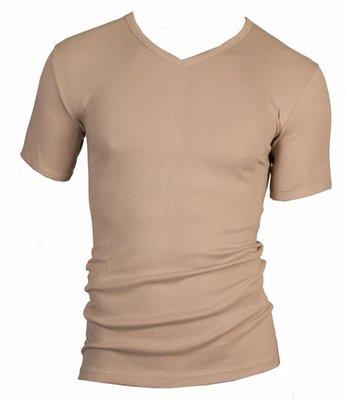 Heren T-shirt met V-hals en korte mouw Beeren Huidskleur