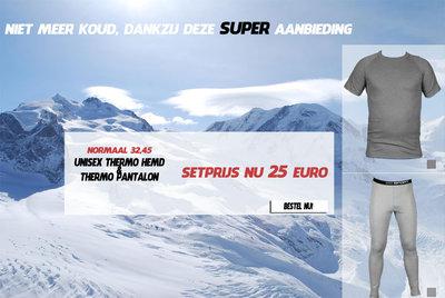 Thermo unisex pantalon + Thermo Unisex hemd. K.M. grijs