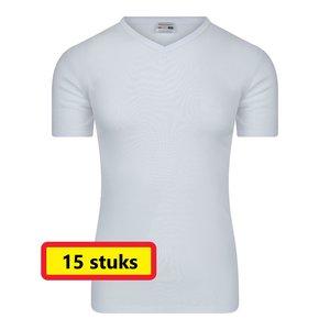 Heren T-shirt met V-hals Wit M3000