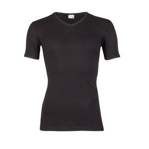 Heren T-shirt met V-hals en korte mouw Beeren Zwart M3000