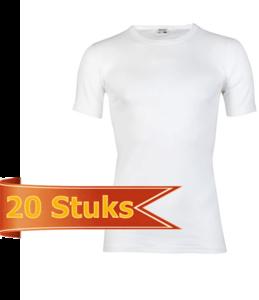 Heren T-shirt met ronde hals en korte mouw Beeren Wit (20 stuks) M3000