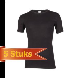 Heren beeren T-shirt korte mouw zwart ( 5 stuks )