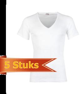 Heren T-shirt korte mouw Diepe V-hals Beeren Wit (5 stuks)