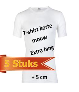 Extra lang Heren T-shirt met ronde hals Beeren Wit (5 stuks)