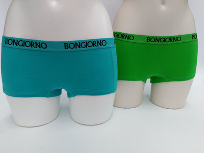 Bongiorno dames short uni (2-pack) Blauw Groen